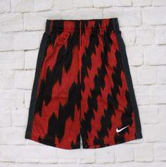 Boys NIKE Dri Fit Orange Gray Stripe White Swoosh Elastic Waist Shorts SZ Medium #Nike #Everyday