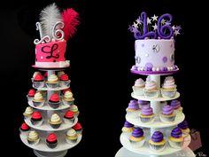 Twin Sweet 16 Cupcake Towers by Pink Cake Box