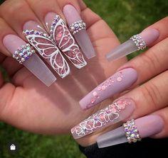 Glamour Nails, Classy Nails, Stylish Nails, Trendy Nails, Dope Nails, Bling Nails, Red Stiletto Nails, Sparkly Nails, Rhinestone Nails