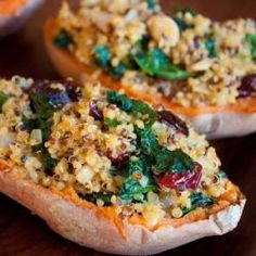 Quinoa Stuffed Sweet Potatoes with Kale and Cranberries. Review: I made a couple of substitutions (chicken stock for veg stock, spinach for kale) because that