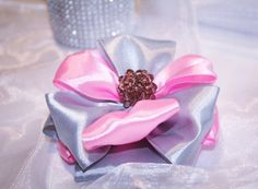 Pink/Grey Ribbon Brooch/ Handmade Pink/Grey by Gabiworks on Etsy