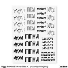 Happy New Year 2016 Roman Numerals Black Tattoo