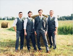 charcoal and green groomsmen.  #barn #rustic #wedding
