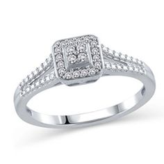 She'll love this sophisticated diamond promise ring as much as she loves you. Created in 10K white gold, this design features a squared center frame set with a quartet of shimmering diamonds. A border of sparkling diamonds wraps the center cluster in a dazzling embrace, while additional diamonds line the ring's split shank. Radiant with 1/10 ct. t.w. of diamonds, this ring is finished with a bright polished shine.