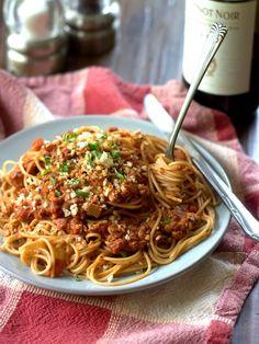 Spaghetti with Tempeh Vegan Ragù with Toasted Panko