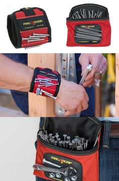 This magnetic wrist band and clip-on pouch keeps nails, screws, fasteners, wrenches and small tools at hand while you work. No more holding nails in your mouth! Makes assembling modular furniture so much easier! Essential Woodworking Tools, Cool Woodworking Projects, Woodworking Books, Fine Woodworking, Woodworking Workbench, Woodworking Nightstand, Intarsia Woodworking, Workbench Plans, Woodworking Workshop