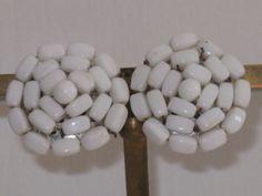 White Milkglass Western Germany Earrings by delightfullyvintage, $16.00