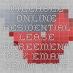 Residential Lease   Residential Lease   Pinterest Fillable Online Residential Lease Agreement Fax Email Print   PDFfiller   On line PDF form