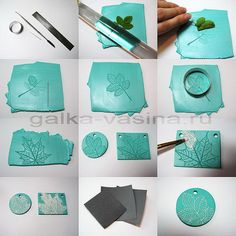 leaf prints in polymer clay