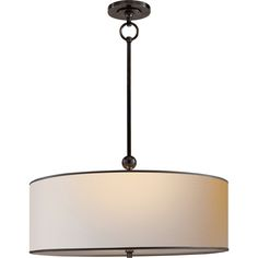 Thomas O'Brien Reed Pendant in Bronze with Natural Paper Shade with Black Tape by Visual Comfort & Co. TOB5011BZ-NP/BT