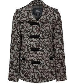 BKE Oversized Collar Leopard Coat