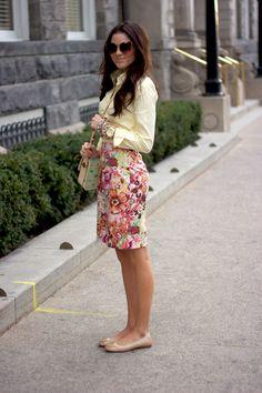 4.12 thinking of blossoms (J Crew shirt + J Crew Factory skirt + Tory Burch flats + Dooney & Bourke bag + J Crew, Michael Kors, Nadri, F21 Juicy Couture jewelry)