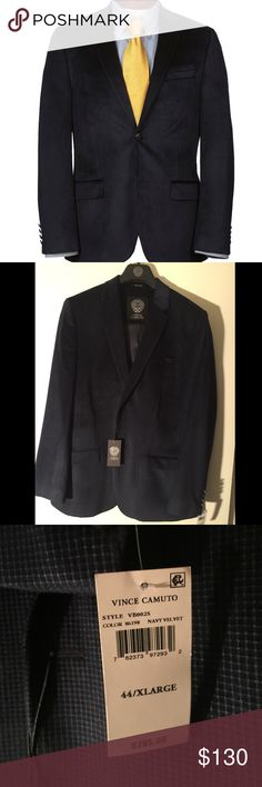NAVY VELVET Vince Camuto Blazer Velvet, soft to the touch, elegant, rich looking NAVY. Plaid texture, Would look great with navy blue slacks in the winter, or even khakis in the spring or fall. The fit is definitely more fitted around the ribs vs. the classic fit. I purchased this a few months ago and it did not fit right only because I wasn't aware of the exact numbered size of the jacket. Up for any offers. PURCHASED FROM DILLARDS.COM less than a year ago. Vince Camuto Suits & Blazers…
