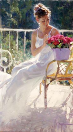 Vladimir Volegov ~ Russian Figurative Painter (woman in white sundress with flowers)