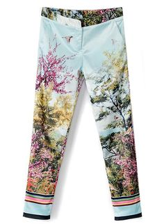 White Pockets Bird Scenery Print Pant - Sheinside.com