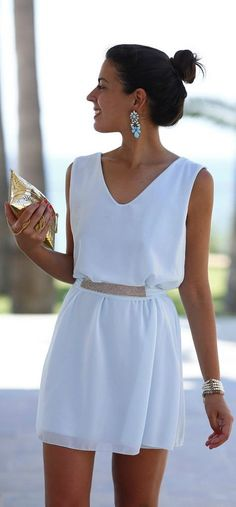 V-neck Pure Color White Chiffon Short Squins Belt Dress - Oh Yours Fashion - 2