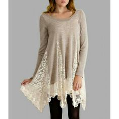 Long Sleeve Lace tunic New Tops Tees - Long Sleeve
