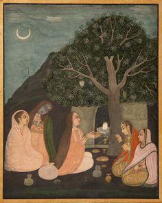 Bhairavi Rangini women perform puja at Shiva Shrine at night under a crescent moon.
