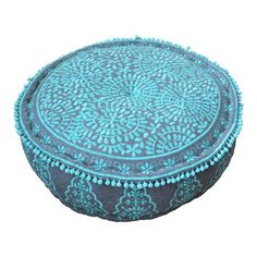 Bombay Duck Nomad Embroidered Pouffe, Grey/Turquoise