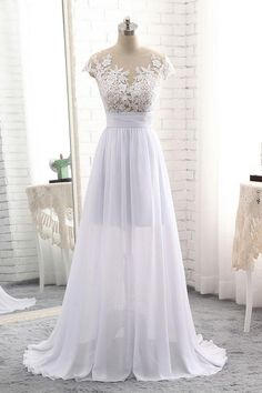 e6c72941bc39 WHITE ROUND NECK LACE LONG PROM DRESS, WHITE EVENING DRESS, WHITE WEDDING  DRESS,. Luulla