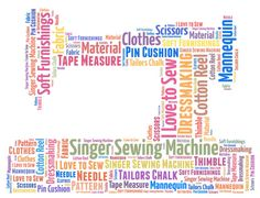 Sewing machine - for dressmaker - fashion designer - sewing club. Personalised word art.