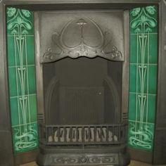 Bottle Green Art Nouveau Fireplace Tiles Set Ref 025