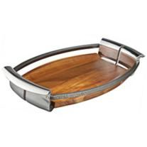 Nambe Anvil Alloy Metal and Wood Serving Tray