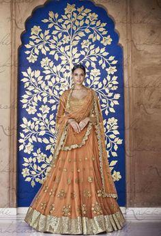 Designer Lehenga Choli Made with Net Fabric at www.fashionsbyindia.com #Lehenga