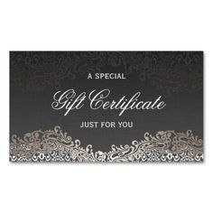 Gift Certificate - Elegant Vintage Silver Damask Double-Sided Standard Business Cards (Pack Of 100)