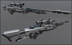Sci-fi sniper rifle by Alexander Guryanov on ArtStation. Cosplay Weapons, Ninja Weapons, Anime Weapons, Sci Fi Weapons, Weapon Concept Art, Weapons Guns, Fantasy Sword, Fantasy Weapons, Sci Fi Waffen