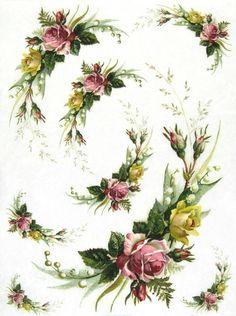 Rice Paper for Decoupage, Scrapbook Sheet, Craft Paper Vintage Flora