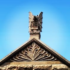 Bat-bear is always on the lookout for trouble at Maxwell Hall. #indianauniversity #iu #campus #gargoyle