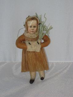 Antique Christmas Girl Spun Cotton Crete Paper Dress Scrap Face Muff Tree | eBay