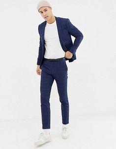 Noak – Enger, blau karierter Anzug