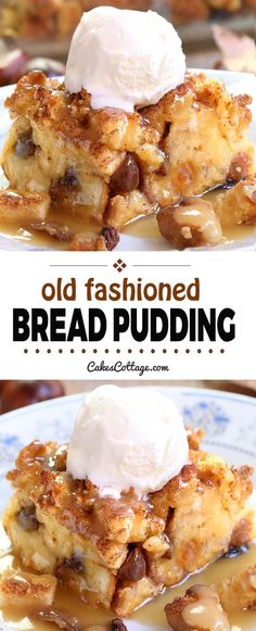 Old fashioned bread pudding with vanilla,bourbon or caramel sauce is an easy and simple homestead recipe to use up eggs, milk and stale bread. Comfort food at its best – breakfast, dessert, or snack! snacks with bread Bread Pudding Recipe - Cakescottage Köstliche Desserts, Dessert Recipes, Desserts Caramel, Birthday Desserts, Pudding Desserts, Bread Recipes, Baking Recipes, Sauce Recipes, Cookie Recipes