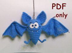 Funny Bat crocheted amigurumi PDF pattern by jasminetoys on Etsy