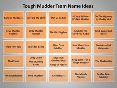 Looking for inspiration? Try one of these team name ideas for Tough Mudder