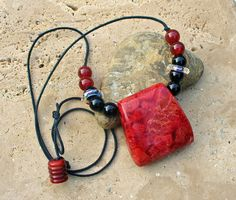 Beautiful Apple Coral Pendant Necklace  by KipajiPraiseJewelry, $28.00