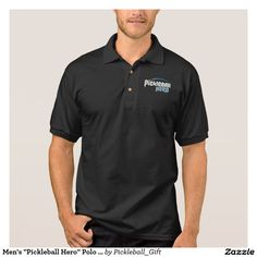 """Men's """"Pickleball Hero"""" Polo Shirt Jersey (Black) - 30% off with code ZCUSTOMGIFTS - ends 12/14"""