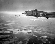 B-17s of the 91st Bomb Group on their way to bomb Oberpfaffenhofen in March 1944.
