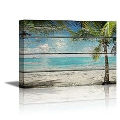 """wall26® - Canvas Prints Wall Art - Tropical Beach with Palm Tree on Vintage Wood Background Rustic Home Decoration - 16"""" x 24"""""""