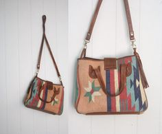 Vintage Kilim Pastel Leather Purse Shoulder Bag Made in India