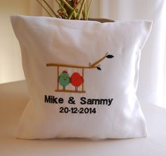 Love birds themed embroidery ring pillow. Personalized with names and wedding date. louise@heavenlygarters.co.za www.heavenlygarters.co.za Ring Pillows, Throw Pillows, Love Birds, Names, Embroidery, Rings, Wedding, Valentines Day Weddings, Toss Pillows