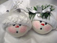 Bride and Groom Wedding Snowman Ornaments Christmas Tree Bulbs Snowball Face Hand Painted Glass Personalized. $24.95, via Etsy.