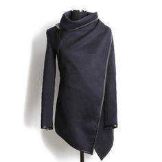 Fashionable Turtleneck Long Sleeve Asymmetric Coat For Women - So Fab!!