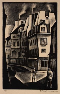 chasingtailfeathers:    Paris Street, 1930 | Howard Cook  Born: Springfield, Massachusetts 1901  Died: Santa Fe, New Mexico 1980  wood engraving on paper  Smithsonian American Art Museum