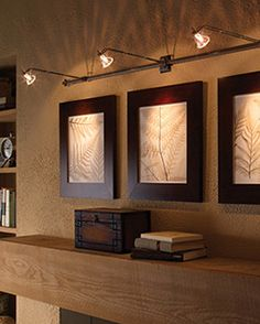 Lovely Wall Mounted Track Lighting For Artwork Display Wooden Long Console Table Soft Brown Bookshelves Leaves Paintings