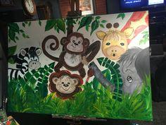 Jungle theme canvas for nursery
