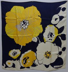DIOR 60s Stylized Flower Scarf by Vintageables on Etsy