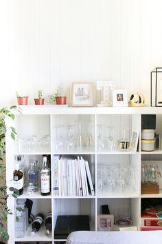 bookshelf as a bar cart